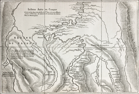 Old map of Campa Indians (Ashaninka) territory, Peru. Created by unidentified author, published on Le Tour du Monde, Paris, 1864