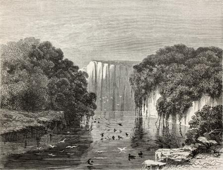 peru amazon: Old illustration of Canari pond, Peru. Created by Riou, published on Le Tour du Monde, Paris, 1864