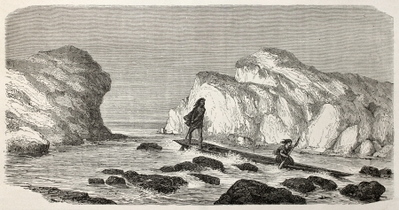Old illustration of natives Peruvian canoeing through rapids. Created by Riou, published on Le Tour du Monde, Paris, 1864