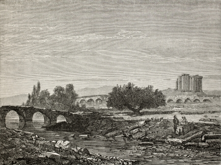 phrygian: Old illustration of a bridge on Rhyndacus river, in Cavdarishar (once Aizari) and Zeus and Cybele temple in background, Turkey. Created by Gaiaud, published on Le Tour du Monde, Paris, 1864 Editorial