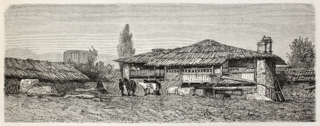 phrygian: Old illustration of Cavdarihsar konak, Turkey. Created by Gaiaud, published on Le Tour du Monde, Paris, 1864 Editorial