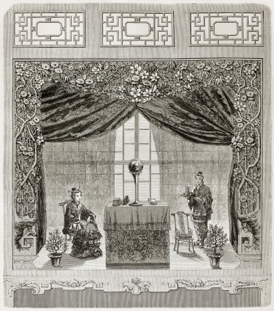 table skirt: Old illustration of Chinese ladies in a boudoir. Created by Therond, published on Le Tour du Monde, Paris, 1864