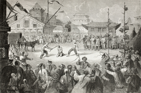 Old illustration of a public execution in Beijiong, Created by Bayard, after drawing of Vaumort, published on Le Tour du Monde, Paris, 1864. Stock Photo - 15155871