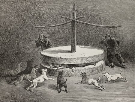 terrifying: Antique illustration of a terrifying Chinese torture instrument. Created by Bayard after sketch of Treves, published on Le Tour du Monde, Paris, 1864