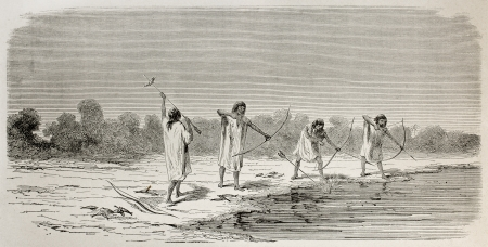 Old illustration of southern American Chontaquiros natives bowfishing, Peru. Created by Riou, published on Le Tour du Monde, Paris, 1864