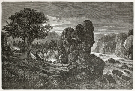 Old illustration of a night encampment at Chuiituqui, during Peru exploration. Created by Riou, Auchard and Brunier, published on Le Tour du Monde, Paris, 1864 Stock Photo - 15155987