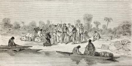 río amazonas: Antigua ilustración de la gente en Coribeni orilla del río, Perú. Creado por Riou, publicado en Le Tour du Monde, París, 1864