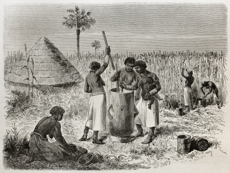 primitive: Old illustration of women crushing sorghum in Unyamwezi village, Tanzania. Created by Bayard, published on Le Tour du Monde, Paris, 1864 Editorial