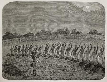 Antigua ilustración de tambores tribales saludan luna nueva en Victoria región de los lagos. Creado por Bayard, Gauchard y Bruno, publicado en Le Tour du Monde, París, 1864
