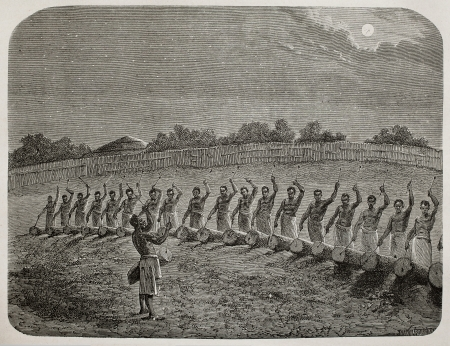 drumming: Old illustration of tribal drummers greeting new moon in Victoria lake region. Created by Bayard, Gauchard and Bruno, published on Le Tour du Monde, Paris, 1864