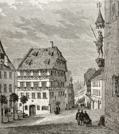 printmaker: Old illustration of Albrecht Durer house and Martin Koetzel statue in Nuremberg, Germany. Created by Th�rond and Terington, published on Le Tour du Monde, Paris, 1864 Editorial