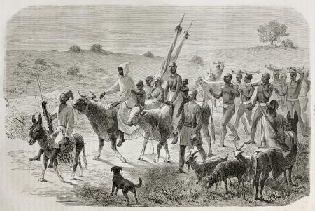 white nile: Antigua ilustraci�n de elefante cazadores caravana en la regi�n del Nilo Blanco, Sud�n. Creado por Bayard, publicado en Le Tour du Monde, Par�s, 1864