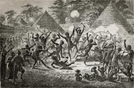 Old illustration of famous explorer James Augustus Grant taking part in a tribal dance in Ugandan village. Created by Fuchs, published on Le Tour du Monde, Paris, 1864