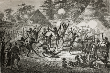 ugandan: Old illustration of famous explorer James Augustus Grant taking part in a tribal dance in Ugandan village. Created by Fuchs, published on Le Tour du Monde, Paris, 1864 Editorial