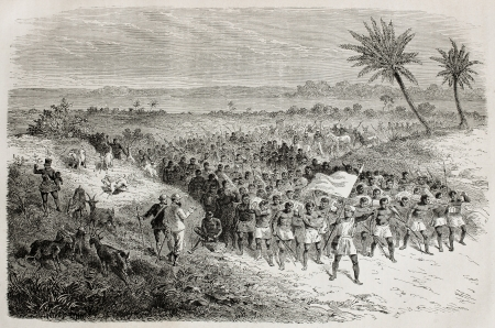 exploratory: Old illustration of famous explorers Grant and Speke in Tanzania, departing with their retinue. Created by Bayard, published on Le Tour du Monde, Paris, 1864