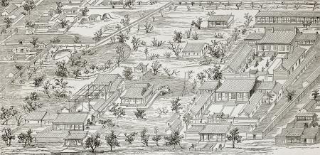 mapa china: Antigua ilustración de la legación francesa en Beijing, el plan general. Creado por Lancelot después de dibujo de autor chino desconocido, publicado en Le Tour du Monde, París, 1864 Editorial