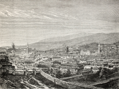 phrygian: Old view of Gediz and the river of the same name, in the Aegean region, Turkey. Created by Gaiaud, published on Le Tour du Monde, Paris, 1864