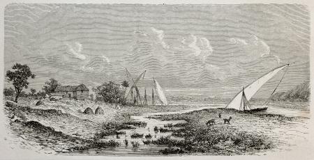 white nile: Antigua ilustraci�n fo Gondokoro, localidad en la orilla este del Nilo Blanco, en el sur de Sud�n. Creado por De Bar, publicado en Le Tour du Monde, Par�s, 1864 Editorial