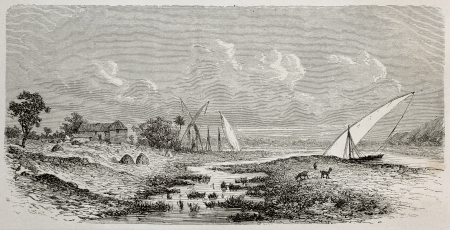nile: Old illustration fo Gondokoro, locality on the east bank of White Nile, southern Sudan. Created by De Bar, published on Le Tour du Monde, Paris, 1864
