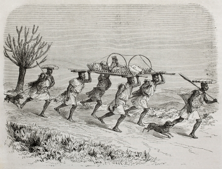 Old illustration of Scottish explorer James Augustus Grant traveling on a litter from Karagué to Uganda. Created by Durand and Gauchard, published on Le Tour du Monde, Paris, 1864 Editorial