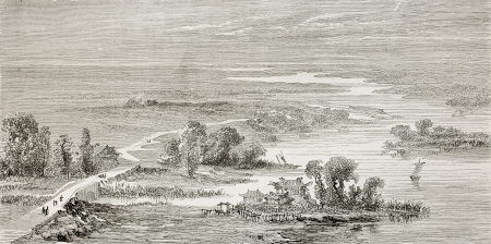 he old: Old illustration of Hai river (previously called Bai He or Pei Ho in western sources), flowing between Beijing and Tianjin. Created by lancelot, published on Le Tour du Monde, Paris, 1864