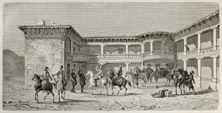 ancient soldiers: Old illustration of local governor residence in Harmancik, Turkey. Created by Gaiaud, published on Le Tour du Monde, Paris, 1864
