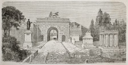 Old illustration of Herculaneum gate seen from Via dei Sepolcri, Pompeii, Italy. Created by Lancelot  published on Le Tour du Monde, Paris, 1864