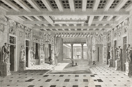 Old illustration of House of Pansa interior, Pompeii, Italy. Created by Lancelot  published on Le Tour du Monde, Paris, 1864