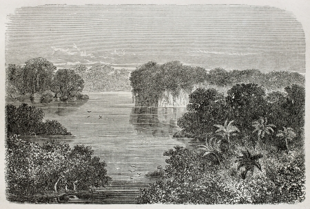 río amazonas: Antigua ilustración de aguas tranquilas Huinpuyu, Perú. Creado por Riou, publicado en Le Tour du Monde, París, 1864
