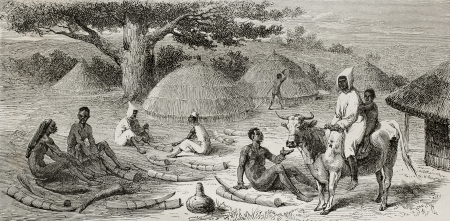 illegal trading: Old illustration of ivory traders in southern Sudan. Created by Bayard, published on Le Tour du Monde, Paris, 1864