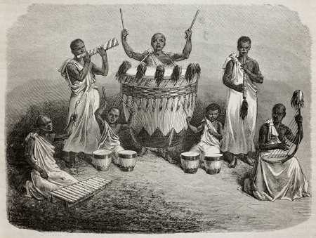 Old illustration of Karagué court orchestra, lake Victoria region. Created by Bayard, and Hildebrand, published on Le Tour du Monde, Paris, 1864
