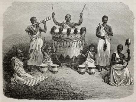 Old illustration of Karagué court orchestra, lake Victoria region. Created by Bayard, and Hildebrand, published on Le Tour du Monde, Paris, 1864