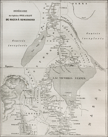 nile river: Old map of explorers Speke and Grant itinerary from Kazeh (nowadays Tabora, Uganda) to Gondokoro (southern Sudan). Created by Erhard and Bonaparte, published on Le Tour du Monde, Paris, 1864