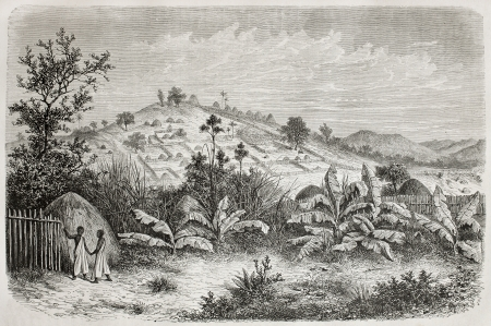 ugandan: Old view of Kiboga, Uganda. Created by De Bar, published on Le Tour du Monde, Paris, 1864
