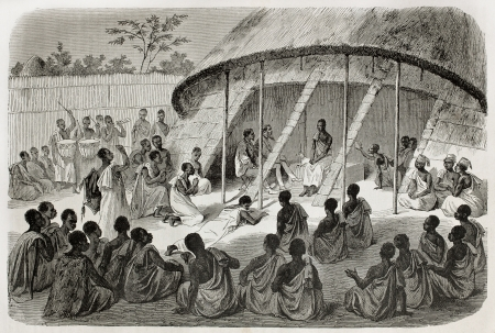 Old illustration of  Mtesa, King of Uganda, listening people's  requests. Created by Bayrad, Hotelin and Hurel, published on Le Tour du Monde, Paris, 1864
