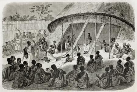 uganda: Old illustration of  Mtesa, King of Uganda, listening peoples  requests. Created by Bayrad, Hotelin and Hurel, published on Le Tour du Monde, Paris, 1864