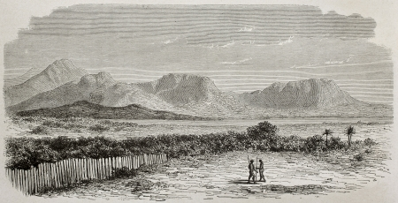 africa antique: Old view of Nile river and Kukou mountains, southern Sudan. Created by De Bar and Meunier, published on Le Tour du Monde, Paris, 1864