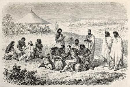 Old illustration of Guillaume Lejan arrest by order of  Emperor Tewodros.  Created by Janet-Lange and Trichon, after sketch of Lejean, published on Le Tour du Monde, Paris, 1864 Editorial