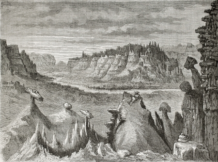 Old illustration of Little Missouri badlands, North Dakota. Created by Lancelot, published on Le Tour du Monde, Paris, 1864