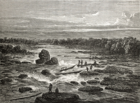 Old illustration of Mancureali rapids, Peru. Created by Riou, published on Le Tour du Monde, Paris, 1864