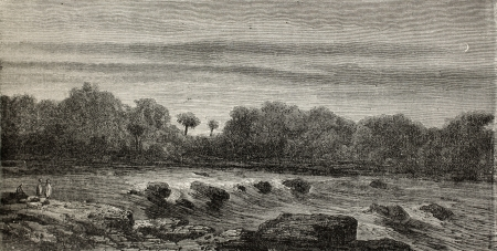 Old illustration of Mantalo rapids, Peru. Created by Riou, published on Le Tour du Monde, Paris, 1864