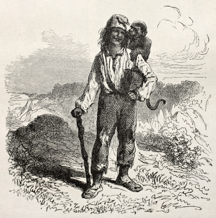 Old illustration of a man with donkey on his shoulder. Created by Riou, published on Le Tour du Monde, Paris, 1864 Stock Photo - 15155772