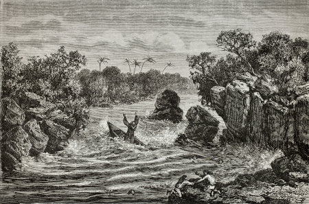 Old illustration of man wreck in rapids. Created by Riou, published on Le Tour du Monde, Paris, 1864 Stock Photo - 15155905