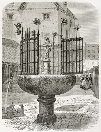 nuremberg: Old illustration of a fountain in Nuremberg: Man with gooses, sculpted by Pankraz Labenwolf. Created by Therond, published on Le Tour du Monde, Paris, 1864