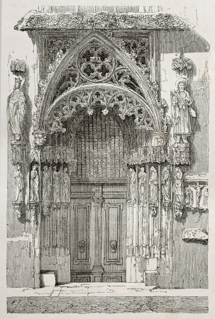 Old illustration of Married Door (Braulthur) in St. Sebaldus church, Nuremberg, Germany. Original, created by Thérond, was published on Le Tour du Monde, Paris, 1864 Stock Photo - 15155894