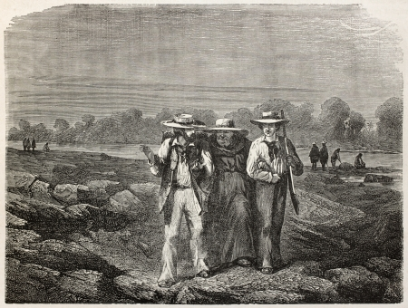 published: Old illustration of three men walking near the bank of a river. Created by Riou, published on Le Tour du Monde, Paris, 1864 Editorial