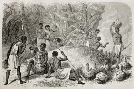 jarra de cerveza: Antigua ilustración de cerveza africana indígena mijo potable. Creado por Bayard y Huyot, publicado en Le Tour du Monde, París, 1864 Editorial