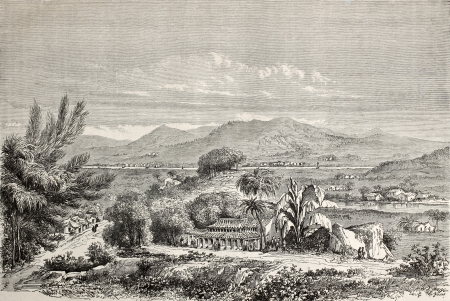 Old illustration of Min valley, China. Created by Lancelot and Cordier, published on Le Tour du Monde, Paris, 1864