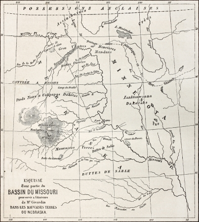 Old map of part of Missouri basin in Nebraska, USA. Created by Erhard and Bonaparte, published on Le Tour du Monde, Paris, 1864