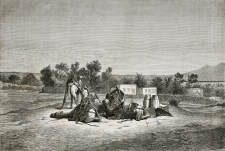 monte sinai: Antigua ilustración de Moisés Spring (Oyun Musa), cerca de Suez, en la península del Sinaí. Creado por Pottin, publicado en Le Tour du Monde, París, 1864